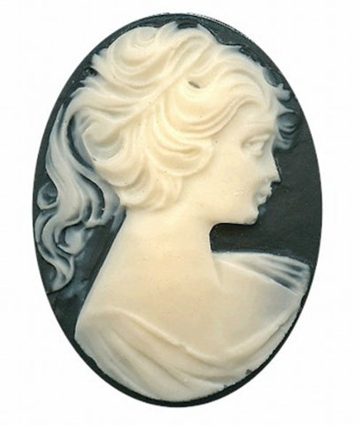 30x22mm Black and Ivory Ponytail Girl Resin Cameo 635R