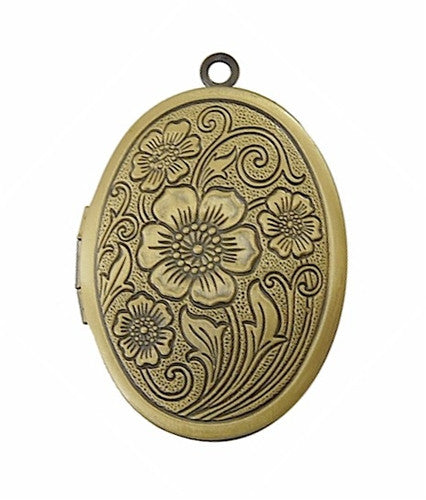 Antique Bronze Locket with Etched Flowers 642x