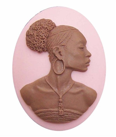 African American 40x30mm Cameo Black Lady Resin Cameo Pink and Brown 645x