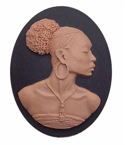 African American 40x30mm Cameo Black Lady Resin Cameo Black and Brown 646x