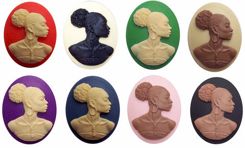 Afro Centric Cameo 40x30mm African American Cameo SET of 8 pcs. 647x