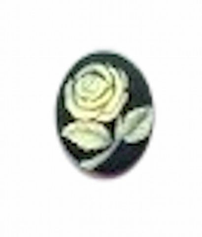 10x8mm Black and Ivory Rose Resin Cameo 648R