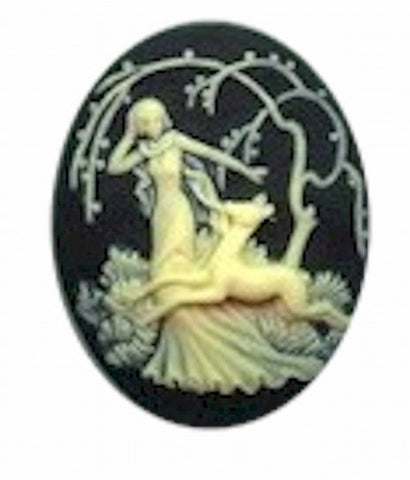 38x29mm Black and Ivory Deer Fawn with Woman Resin Cameo 651R