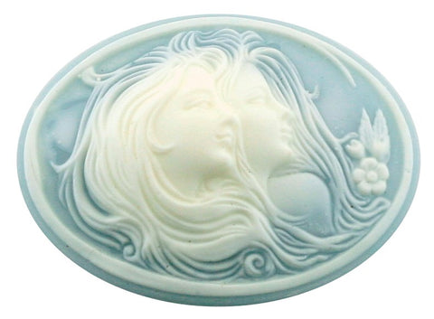 40x30mm Blue and White Two Sisters Resin Cameo 656R