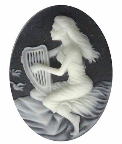 40x30mm Harpist Lady with Harp Black Creme Resin Cameo 674q