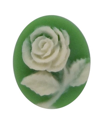 10x8mm Green and Ivory Rose Resin Flower Cameo 678q