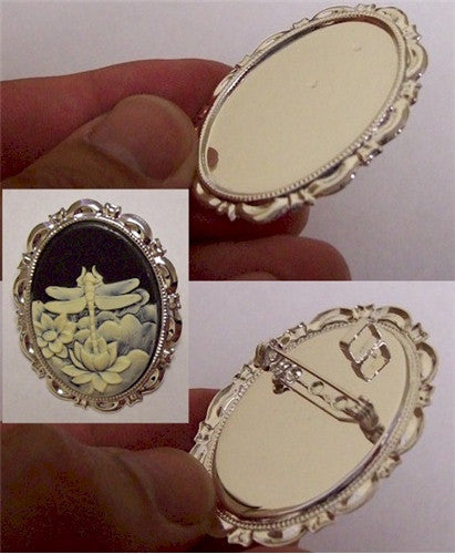 25x18mm Bright Silver Cameo Pendant and Brooch Setting 682x