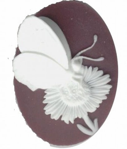 40x30mm Purple and White 3-D Butterfly Resin Cameo 692q