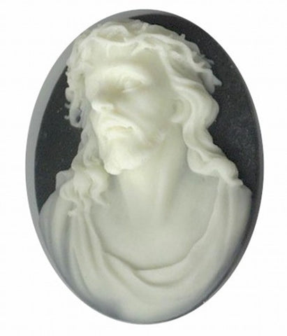 40x30mm Black and Ivory Savior Christ Jesus Resin Cameo 694q