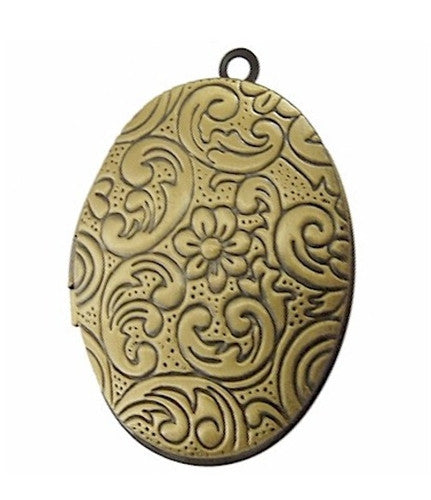 Locket Antique Bronze with Flower Pattern 34x24mm 696x