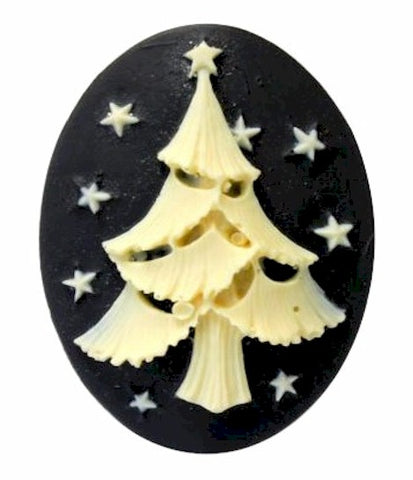 Christmas Tree Resin Cameo 40x30mm Holiday Theme Cabochon Black Ivory 6c