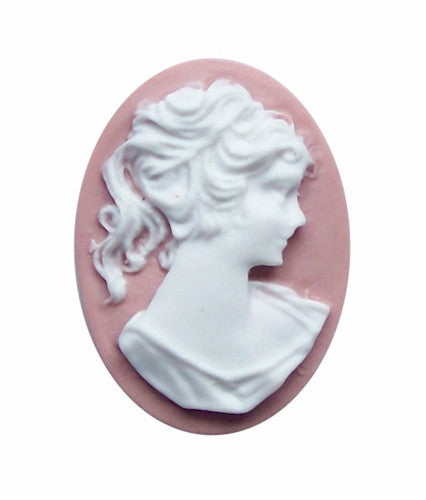 25x18 Dusty Pinkand white Ponytail Girl Resin Cameo 716x