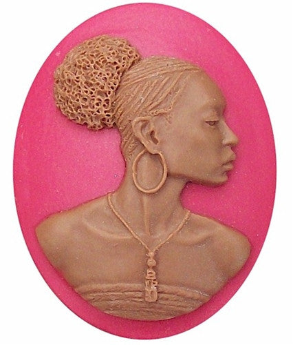 40x30mm Crimson Red and Brown African American Resin Cameo 717x