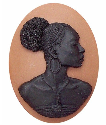 40x30mm Brown and Black African American Resin Cameo 719x