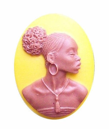 African American Black Woman Resin 25x18 Mustard Yellow and Brown 721x