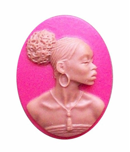 25x18mm Crimson Red African American Resin Cameo 722x