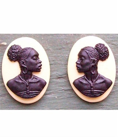 African American Cameo 18x13 Matched Pair Purple and Ivory Resin Cameos 613x