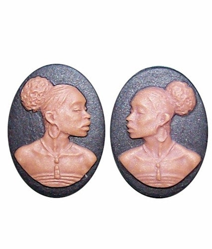 African Earring Jewelry Finding 18x13 Matched Pair Black and Brown Resin Cameos 726x