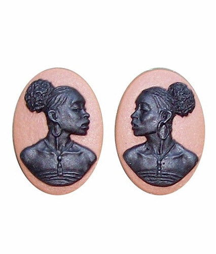 African American Cameo 18x13 Matched Pair Brown and Black Resin Cameos 728x