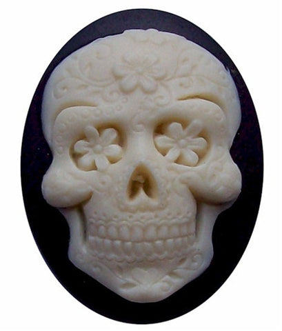 40x30mm Sugar Skull Calavera Mexican Day of the Dead Black Ivory Resin Cameo 738x