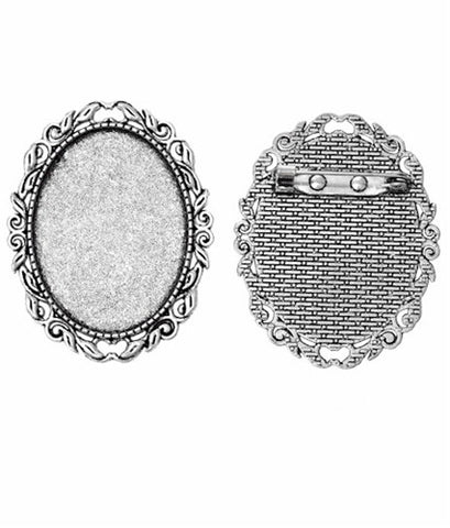40x30mm Antique Silver Cameo Brooch Setting with Soldered Pinback 744x