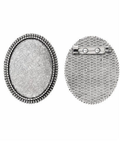 40x30mm Antique Silver Cameo Setting with Soldered Pinback 745x