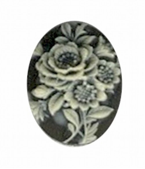 18x13mm Black and Ivory Resin Flower Cameo 751R