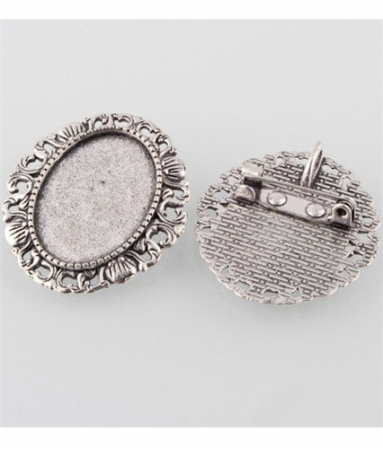 25x18mm Antique Silver Cameo Brooch Setting with Pin and Bail 766x