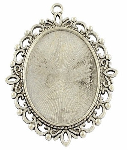 40x30mm Antique Silver Cameo Pendant Setting with Ring 767x