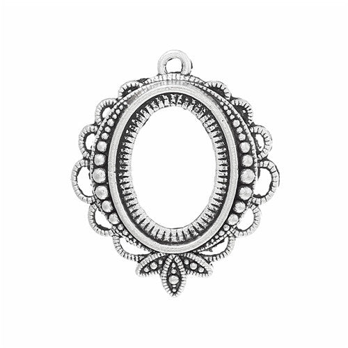 18x13mm Antique Silver Open Back Pendant Setting with Ring 786x