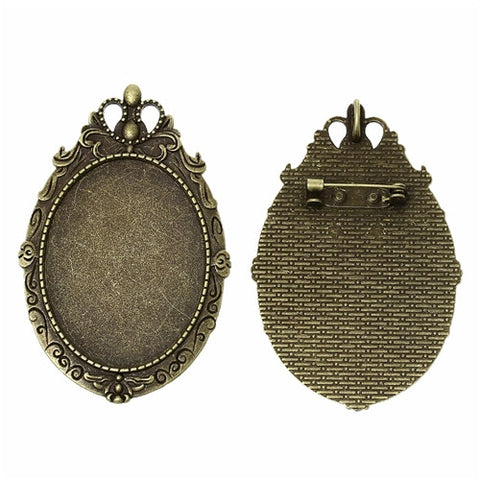 40x30mm Antique Bronze Cameo Pendant Setting with Pin Back 787x