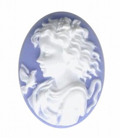 25x18mm girl with bird blue and white resin cameo 816q