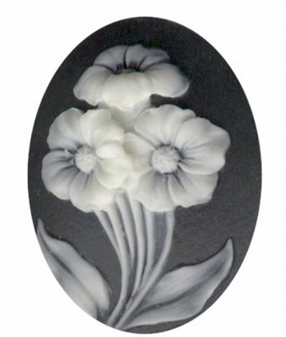 40x30mm Black and Ivory Spring Flowers Resin Cameo 817q