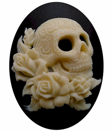 40x30mm Black Ivory Gothic Skull Cameo Day of the Dead jewelry skeleton gothic 819x