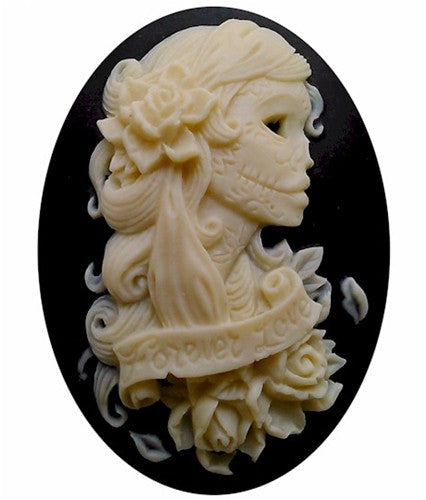 40x30mm Black Ivory Skull Cameo Day of the Dead jewelry skeleton gothic 823x