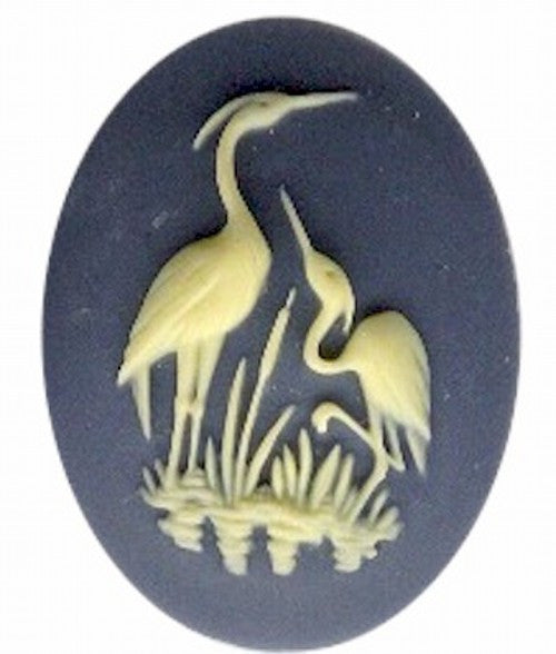 40x30mm Slate Blue and Ivory Heron Stork Bird Resin Cameo 825R