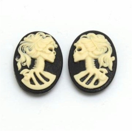 18x13mm pair skull  Skeleton Resin Cameo Black Ivory Goth Skeleton Zombie 835x