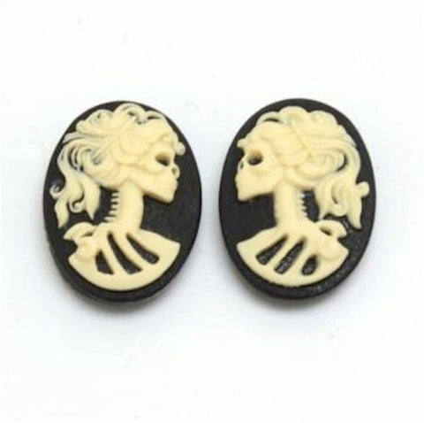 18x13mm pair skull Lolita Skeleton Resin Cameo Black Ivory Goth Skeleton Zombie 835x