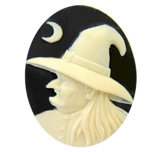 40x30mm Wicked Witch Black Ivory Resin Cameo Halloween 841x