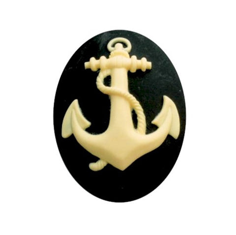 25x18mm Anchor Resin Cameo Black and Ivory Sailor Navy Marine Theme 843x