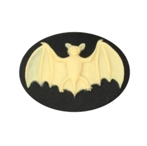 25x18mm Ivory and Black Bat Resin Cameo 845x