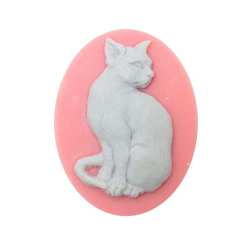 Sitting Cat Resin Cameo Pink and Grey 25x18mm 848x