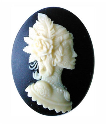 40x30mm Black Ivory Resin Cameo Tattoo Royal Bride Princess 873x