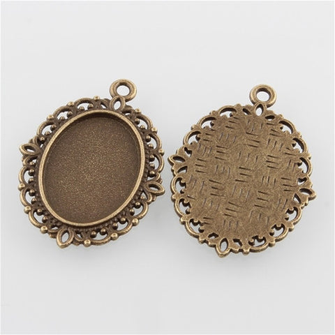 Jewelry making settings jewelry frames cabochon settings mountings 18x13mm antique bronze cabochon pendant setting 881x aloadofball Gallery