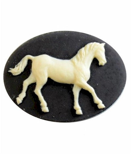 40x30mm Black and Creme Equestrian Horse Flat Back Resin Cameo 891x