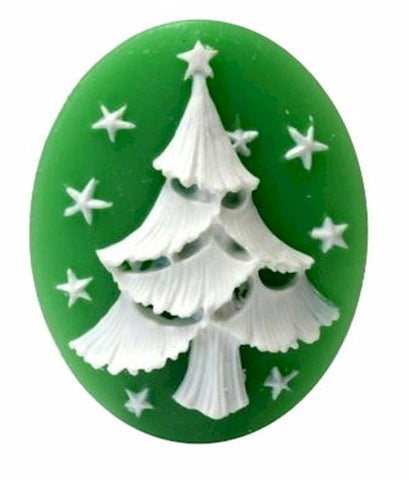 40x30mm green holiday white christmas tree resin cameo loose unset 893x