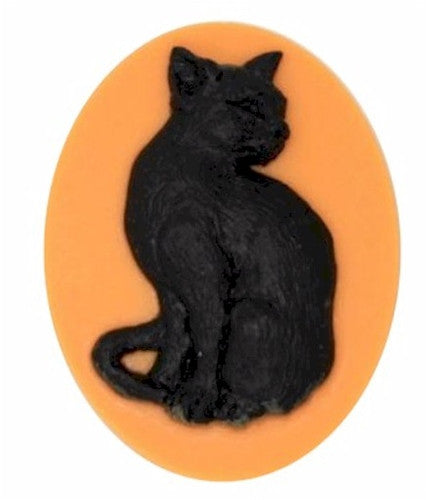 40x30mm Halloween Cameo Black Cat Orange Resin Cameo 895x
