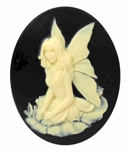 40x30mm Woodland Fairy Nymph Black and Ivory Resin Cameo 898x