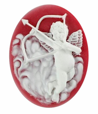 Cupids Arrow Resin Cameo 40x30mm Valentine Theme Angel Cherub Red White 8c