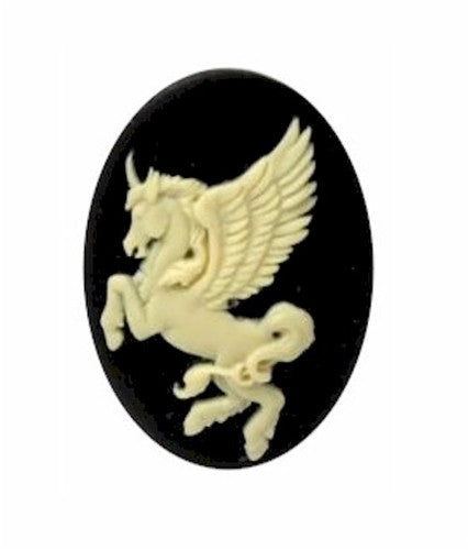 25x18mm Black and Ivory Unicorn Resin Cabochon Cameo 900x